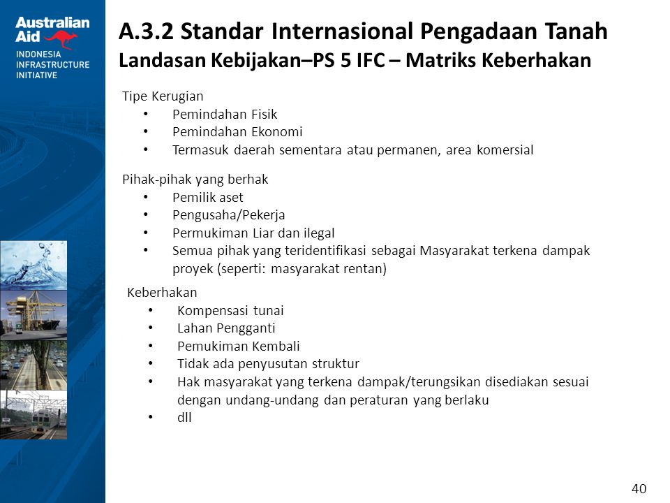 40 A.3.2 Standar Internasional Pengadaan Tanah Landasan Kebijakan–PS 5 IFC – Matriks Keberhakan Tipe Kerugian Pemindahan Fisik Pemindahan Ekonomi Term