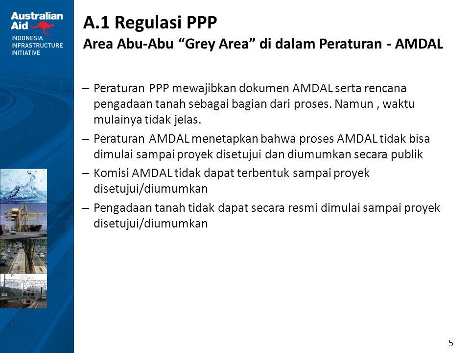 6 A.1 Regulasi PPP Tahapan Pelaksanaan Proyek Kerjasama PPP TAHAP I: PERENCANAAN PROYEK KERJA SAMA TAHAP II: PENYIAPAN PROYEK KERJA SAMA TAHAP III: TRANSAKSI PROYEK KERJA SAMA TAHAP IV: MANAJEMEN PELAKSANAAN PERJANJIAN KERJA SAMA Identifikasi dan Pemilihan Proyek Kerja Sama Penetapan Prioritas Kajian Awal Prastudi Kelayakan Proyek Kerja Sama Kajian Kesiapan Proyek Kerja Sama Penyelesaian Prastudi Kelayakan Rencana Pengadaan Badan Usaha Baru Pelaksanaan Pengadaan BU Penyiapan Penandatangana n Perjanjian Kerja Sama Rencana Pengadaan Badan Usaha Baru Pelaksanaan Pengadaan BU Penyiapan Penandatangana n Perjanjian Kerja Sama Perencanaan Manajemen Pelaksanaan Perjanjian Kerja Sama Manajemen Pelaksanaan Perjanjian Kerja Sama Output: Daftar Prioritas Proyek Output: Daftar Prioritas Proyek Output: Perolehan Pembiayaan, Kontrak EPC, Kontrak Operasi Output: Perolehan Pembiayaan, Kontrak EPC, Kontrak Operasi Output: Dokumen Prastudi Kelayakan Output: Dokumen Prastudi Kelayakan Output: Dokumen Penyiapan Proyek Kerja Sama Output: Dokumen Penyiapan Proyek Kerja Sama Output: Dok.