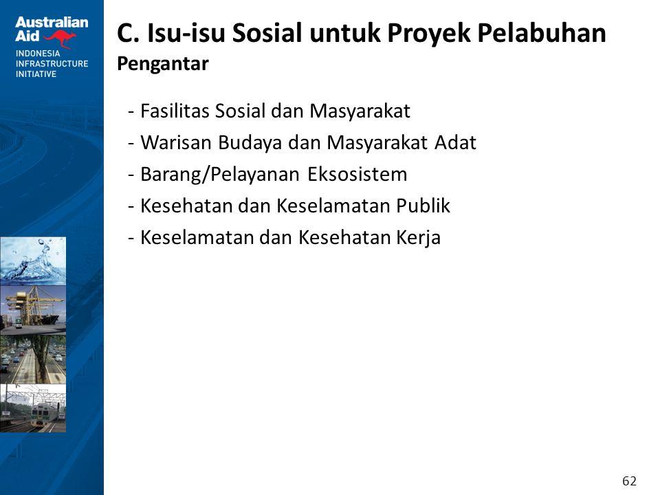 62 C. Isu-isu Sosial untuk Proyek Pelabuhan Pengantar -Fasilitas Sosial dan Masyarakat -Warisan Budaya dan Masyarakat Adat -Barang/Pelayanan Eksosiste