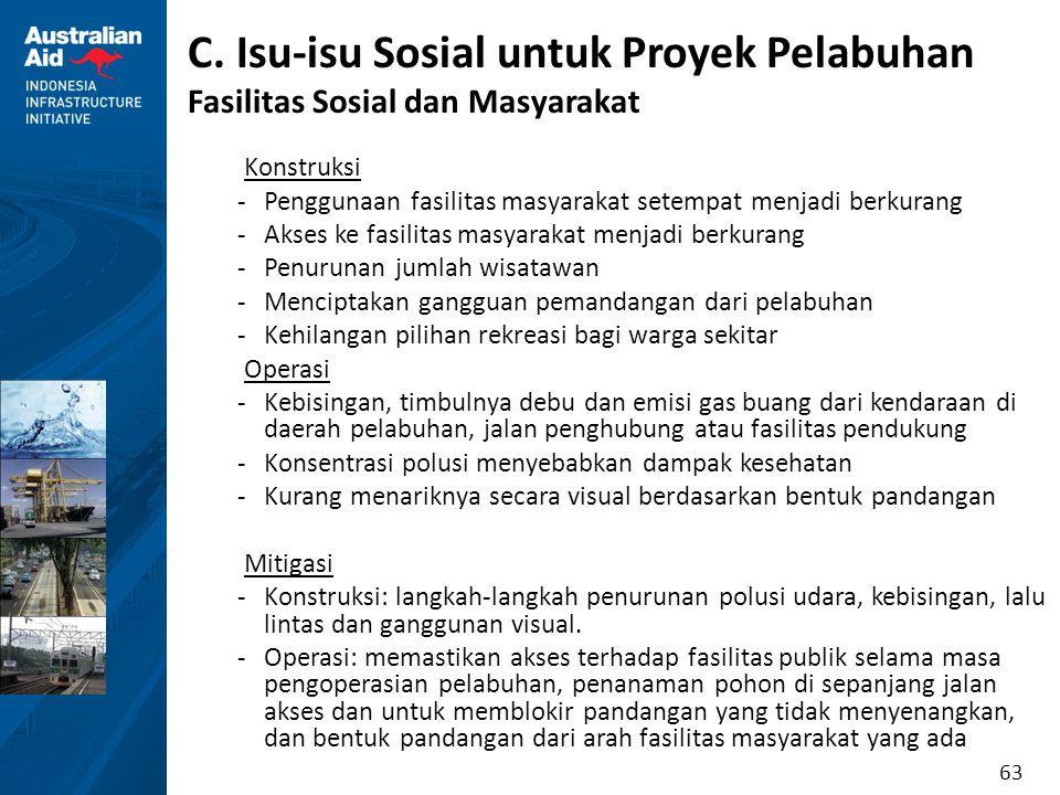 63 C. Isu-isu Sosial untuk Proyek Pelabuhan Fasilitas Sosial dan Masyarakat Konstruksi -Penggunaan fasilitas masyarakat setempat menjadi berkurang -Ak