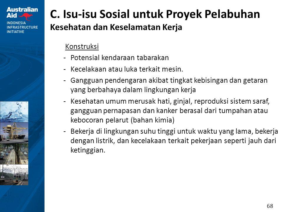 68 C. Isu-isu Sosial untuk Proyek Pelabuhan Kesehatan dan Keselamatan Kerja Konstruksi -Potensial kendaraan tabarakan -Kecelakaan atau luka terkait me