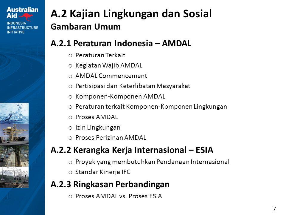 7 A.2 Kajian Lingkungan dan Sosial Gambaran Umum A.2.1 Peraturan Indonesia – AMDAL o Peraturan Terkait o Kegiatan Wajib AMDAL o AMDAL Commencement o P