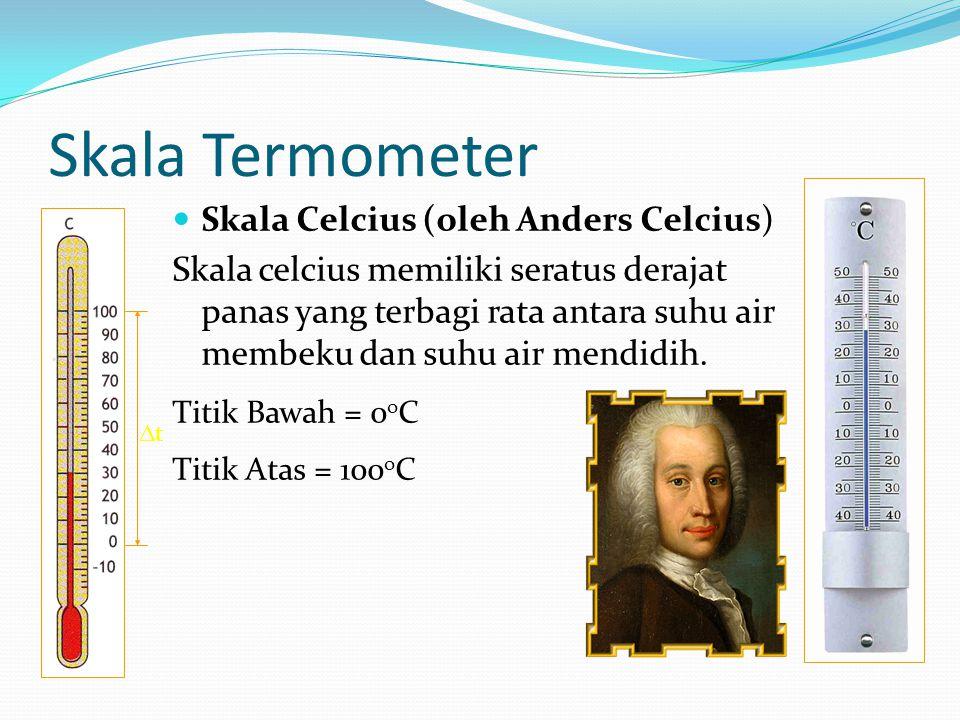 Skala Termometer Skala Celcius (oleh Anders Celcius) Skala celcius memiliki seratus derajat panas yang terbagi rata antara suhu air membeku dan suhu air mendidih.