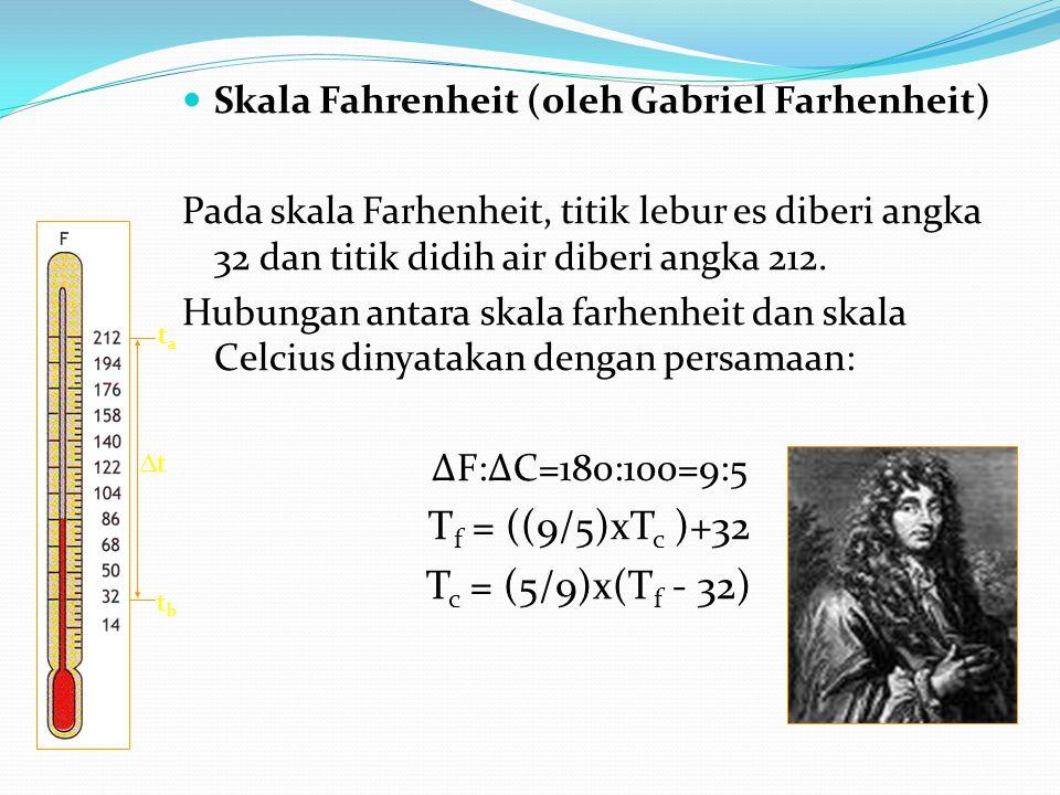 Skala Fahrenheit (oleh Gabriel Farhenheit) Pada skala Farhenheit, titik lebur es diberi angka 32 dan titik didih air diberi angka 212.