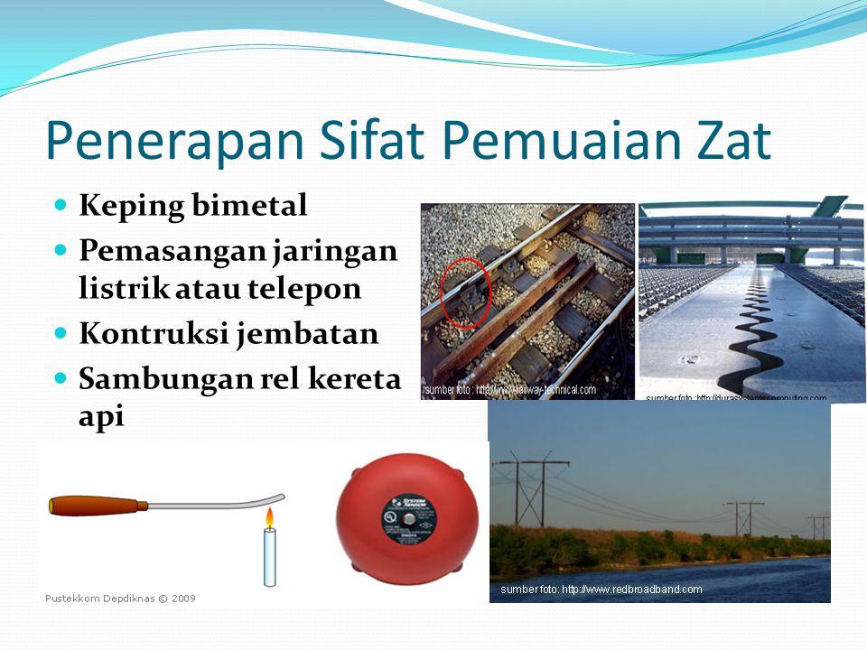 Penerapan Sifat Pemuaian Zat Keping bimetal Pemasangan jaringan listrik atau telepon Kontruksi jembatan Sambungan rel kereta api