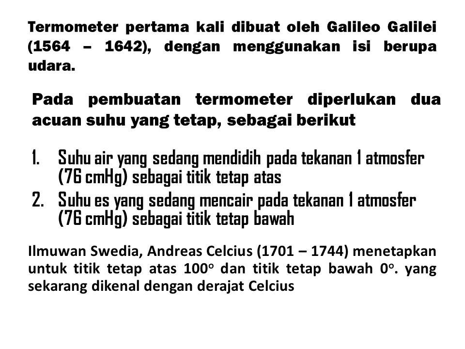 Termometer pertama kali dibuat oleh Galileo Galilei (1564 – 1642), dengan menggunakan isi berupa udara. 1.Suhu air yang sedang mendidih pada tekanan 1