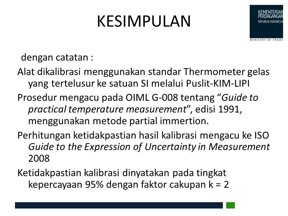 KESIMPULAN dengan catatan : Alat dikalibrasi menggunakan standar Thermometer gelas yang tertelusur ke satuan SI melalui Puslit-KIM-LIPI Prosedur menga
