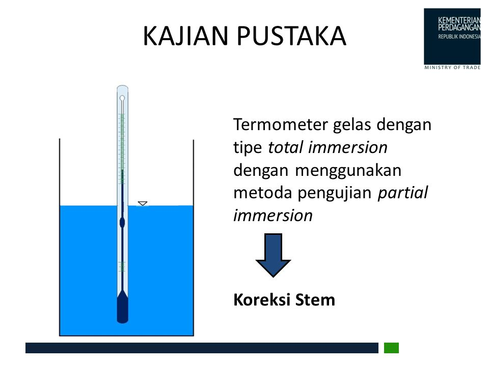KAJIAN PUSTAKA Cs : koreksi stem termometer K : koefisien ekspansi cairan termometer 0,00016 untuk mercury dan 0,001 untuk cairan organik T : suhu waterbath diukur oleh termometer uji n : jumlah skala yang tidak tercelup t : suhu rata2 kolom yang tidak tercelup T Koreksi Stem Cs = K.n(T-t) Jumlah skala : n t (NIST Measurement Services: Liquid in Glass Thermometer Calibration Services) (ASTM E.77)