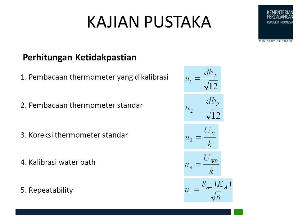 HASIL DAN PEMBAHASAN Perhitungan Hasil koreksi untuk Termometer Hg Uji Thermometer StandarThermometer Hg uji Rata-rata Pembacaan ( o C) Koreksi ( o C) Rata-rata Pembacaan ( o C) Koreksi pencelupan ( o C) Koreksi ( o C) t S =(∑S 1 +∑S 2 )/6t SK t A =(∑A 1 +∑A 2 )/6Cs = K.N (t 1 - t 2 )K 1 =t S +t SK -t A K 2 =(t S +t SK )-(t A +C s ) 20.370.0121 0.0012 -0.62 29.970.0131 0.0304 -1.02 -1.05 39.970.0540 0.0802 0.02 -0.06 50.100.0551 0.1579 -0.85 -1.01 60.000.0361 0.2681 -0.97 -1.24 70.000.0670 0.3682 0.06 -0.31 79.70-0.0280 0.4787 -0.32 -0.80 89.93-0.0990 0.6365 -0.16 -0.79 97.70-0.0498 0.8008 -0.34 -1.14