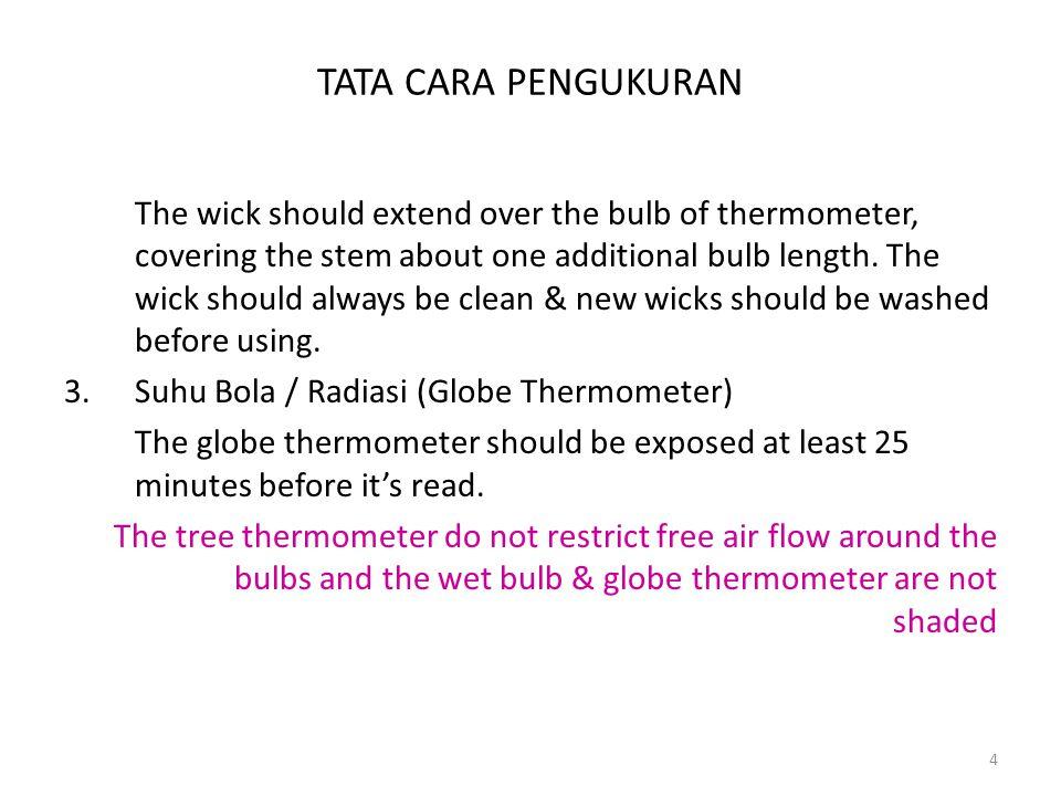 TATA CARA PENGUKURAN 4.Psikrometer Putar Kain katun dibasahi dengan air suling, psikrometer diputar secepatnya (≥ 60 detik) sewaktu-waktu dilihat penurunan air raksa pada termometer bola basahnya.