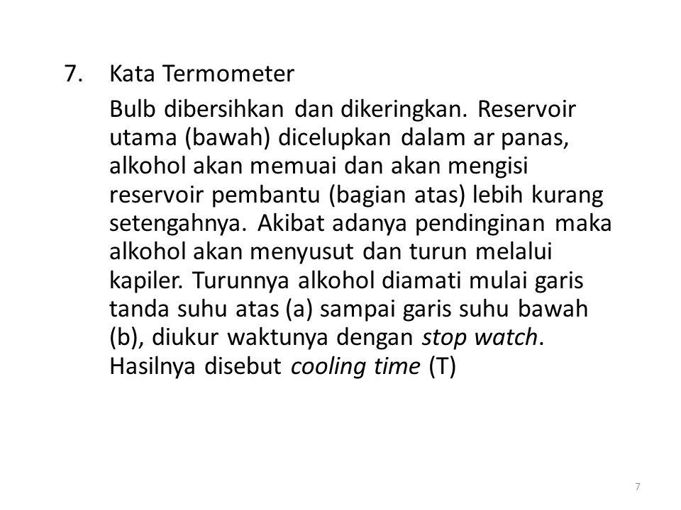 7.Kata Termometer Bulb dibersihkan dan dikeringkan. Reservoir utama (bawah) dicelupkan dalam ar panas, alkohol akan memuai dan akan mengisi reservoir