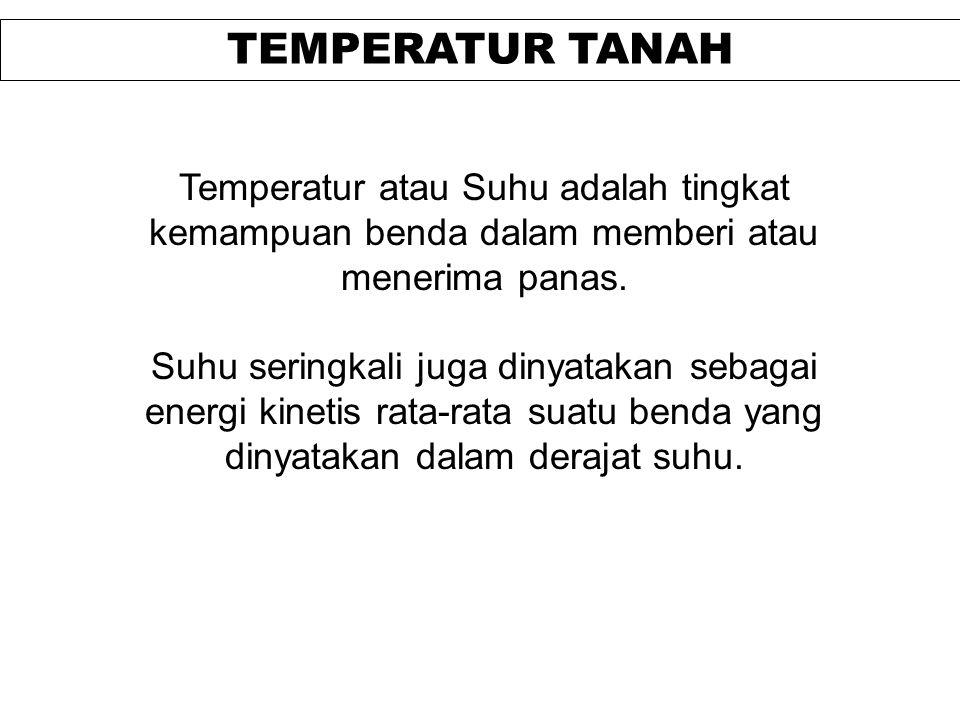 TEMPERATUR TANAH Temperatur atau Suhu adalah tingkat kemampuan benda dalam memberi atau menerima panas. Suhu seringkali juga dinyatakan sebagai energi