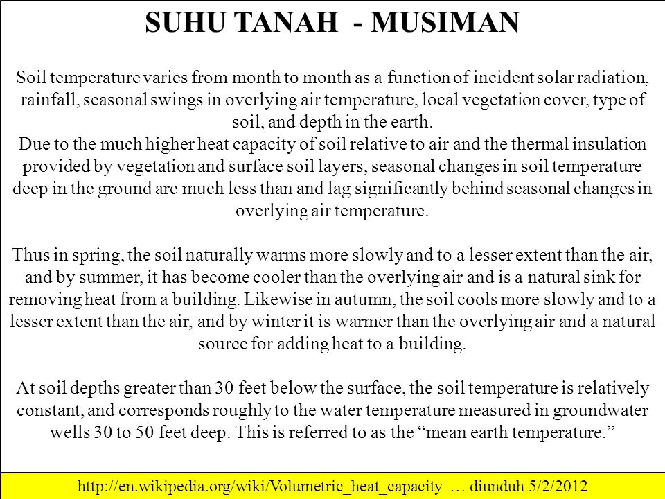 SUHU TANAH - MUSIMAN Soil temperature varies from month to month as a function of incident solar radiation, rainfall, seasonal swings in overlying air