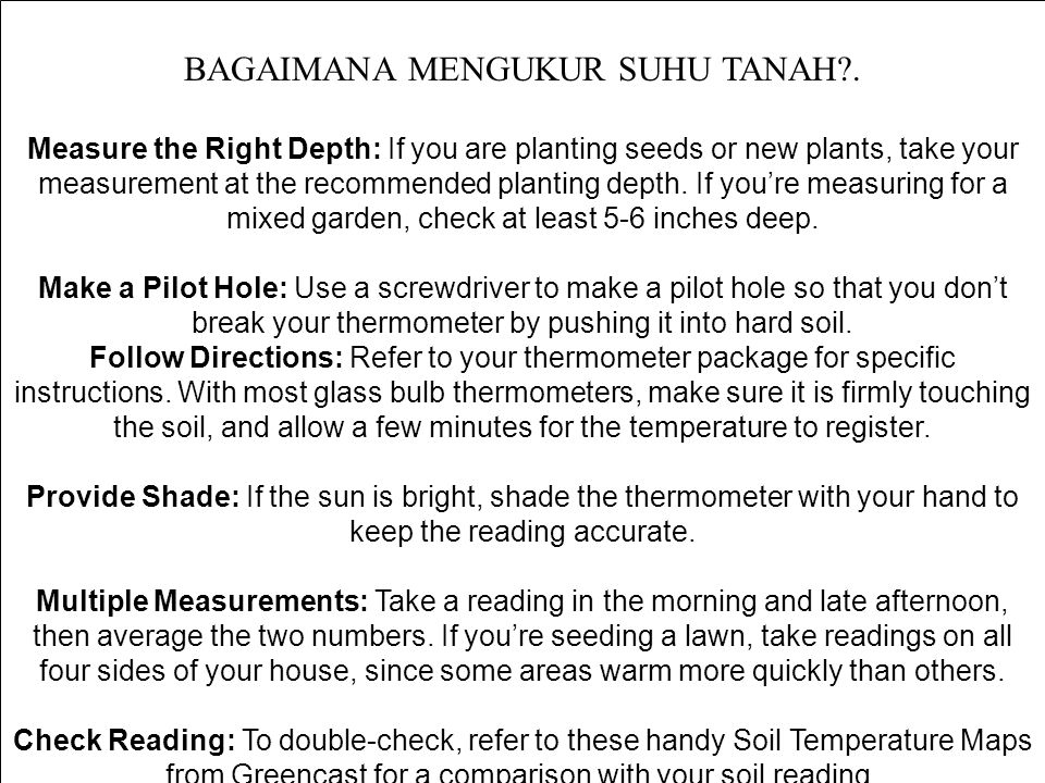 BAGAIMANA MENGUKUR SUHU TANAH?. Measure the Right Depth: If you are planting seeds or new plants, take your measurement at the recommended planting de