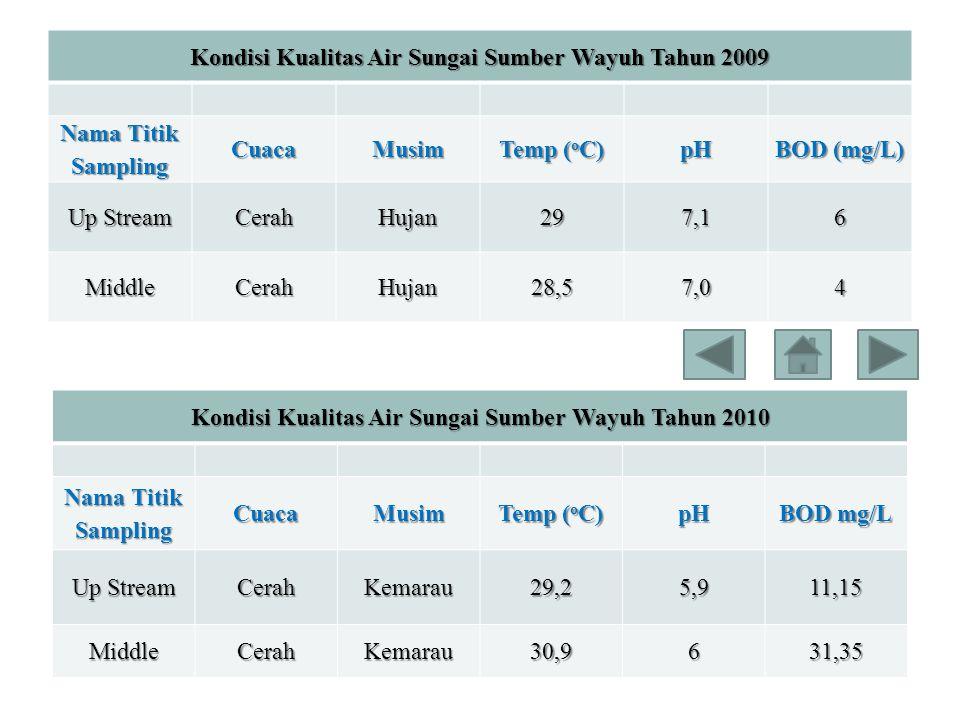 Kondisi Kualitas Air Sungai Sumber Wayuh Tahun 2009 Nama Titik Sampling CuacaMusim Temp ( o C) pH BOD (mg/L) Up Stream CerahHujan297,16 MiddleCerahHuj
