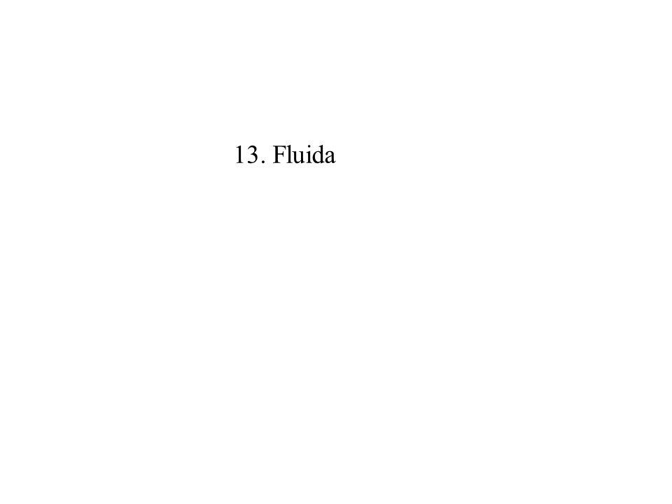 13.1 Pendahuluan Fluida adalah zat yang mencakup benda cair (fluid) dan gas yang mempunyai sifat-sifat: 1.Dapat mengalir 2.Bentuk sesuai dengan permukaan/ruang yang ditempati 3.Tidak dapat menahan gaya geser Massa Jenis atau Densitas (  ) didefinisikan sebagai perbandingan antara massa dan volume yang ditempatinya dan mempunyai satuan kg/m 3.