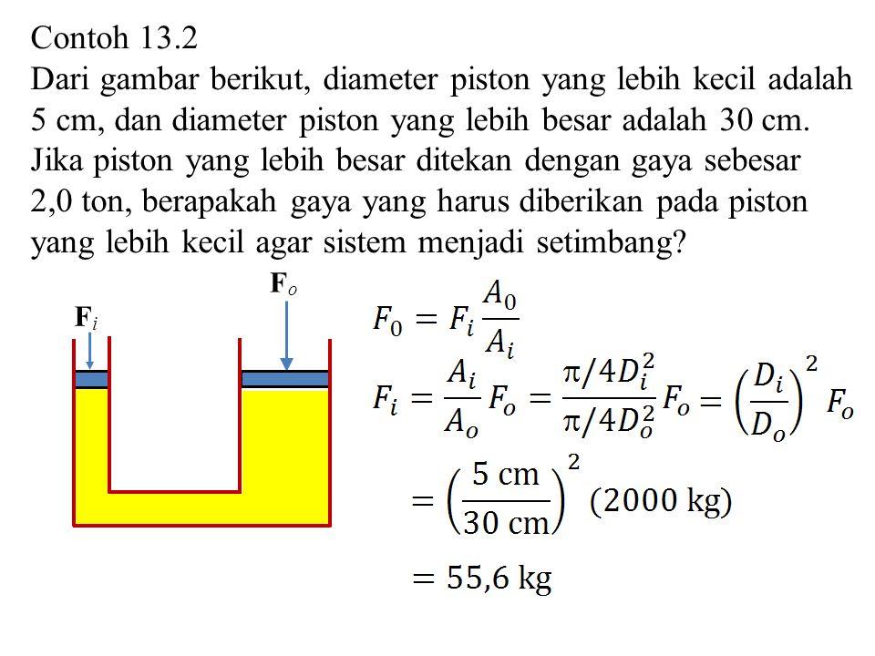 Contoh 13.2 Dari gambar berikut, diameter piston yang lebih kecil adalah 5 cm, dan diameter piston yang lebih besar adalah 30 cm. Jika piston yang leb