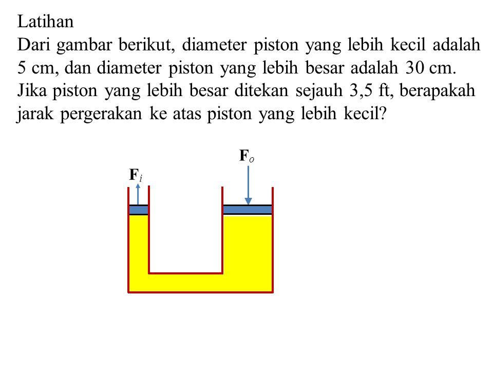 Latihan Dari gambar berikut, diameter piston yang lebih kecil adalah 5 cm, dan diameter piston yang lebih besar adalah 30 cm. Jika piston yang lebih b