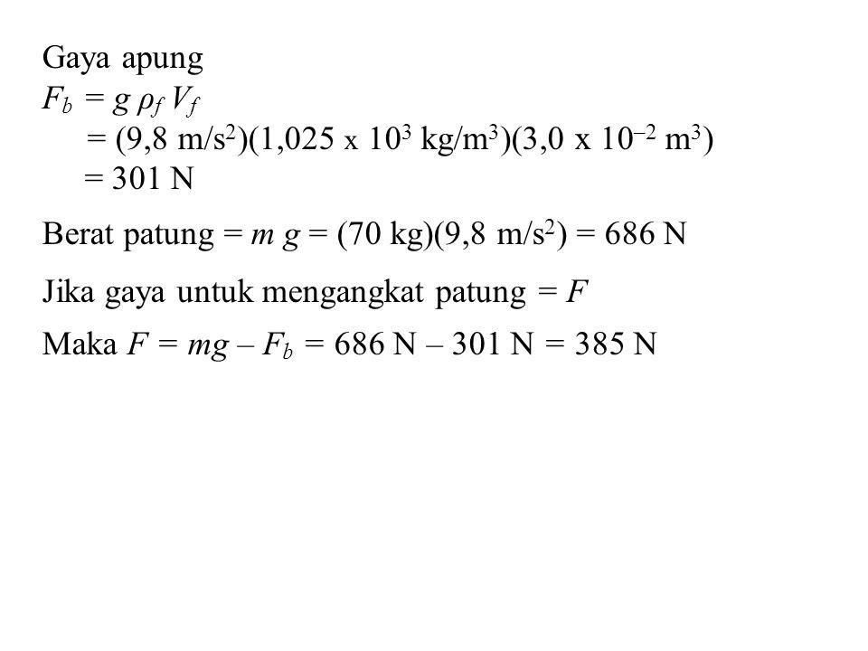 Gaya apung F b = g ρ f V f = (9,8 m/s 2 )(1,025 x 10 3 kg/m 3 )(3,0 x 10 –2 m 3 ) = 301 N Berat patung = m g = (70 kg)(9,8 m/s 2 ) = 686 N Jika gaya u