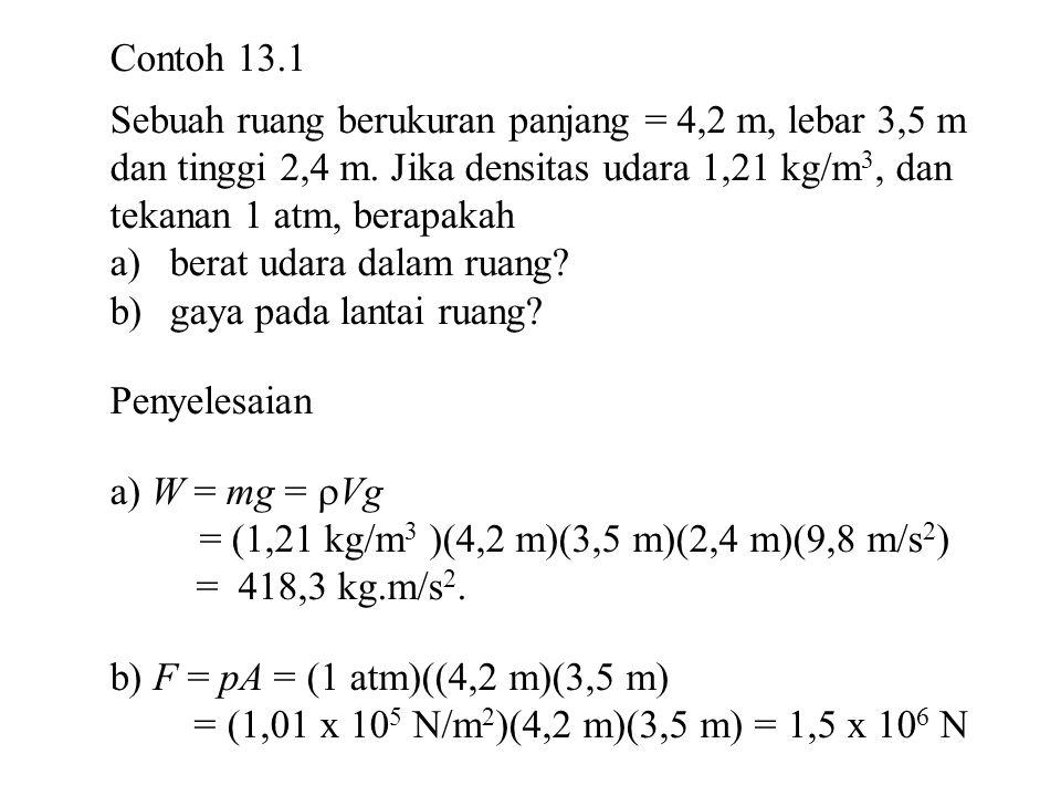Gaya apung F b = g ρ f V f = (9,8 m/s 2 )(1,025 x 10 3 kg/m 3 )(3,0 x 10 –2 m 3 ) = 301 N Berat patung = m g = (70 kg)(9,8 m/s 2 ) = 686 N Jika gaya untuk mengangkat patung = F Maka F = mg – F b = 686 N – 301 N = 385 N