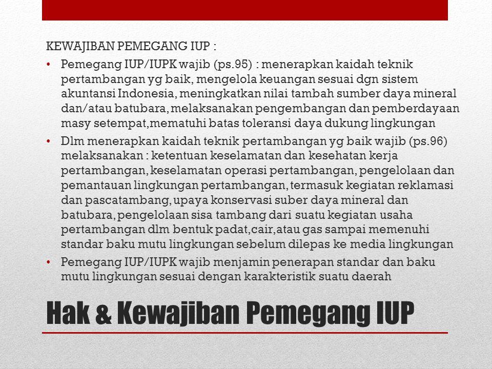 KEWAJIBAN PEMEGANG IUP : Pemegang IUP/IUPK wajib (ps.95) : menerapkan kaidah teknik pertambangan yg baik, mengelola keuangan sesuai dgn sistem akuntan