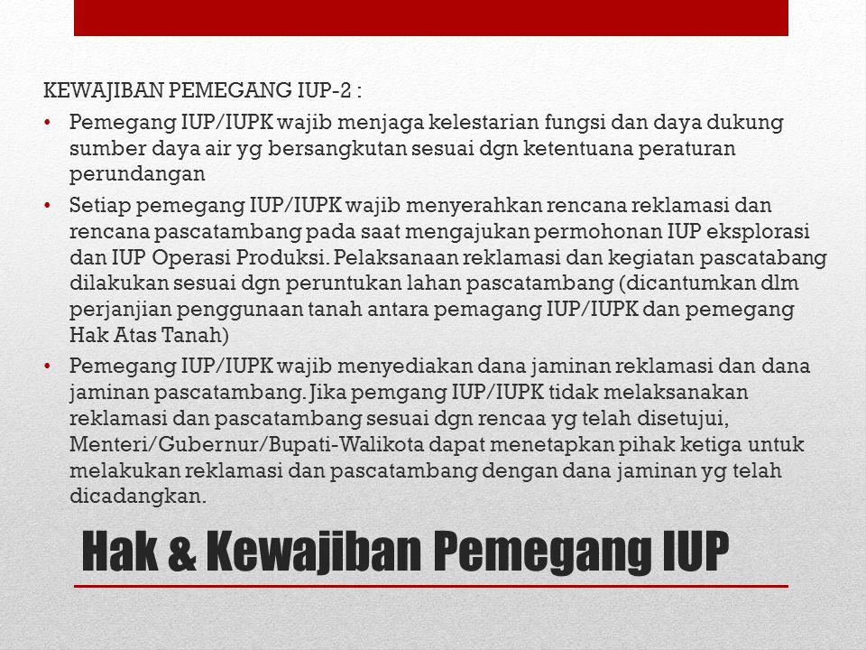 KEWAJIBAN PEMEGANG IUP-2 : Pemegang IUP/IUPK wajib menjaga kelestarian fungsi dan daya dukung sumber daya air yg bersangkutan sesuai dgn ketentuana pe