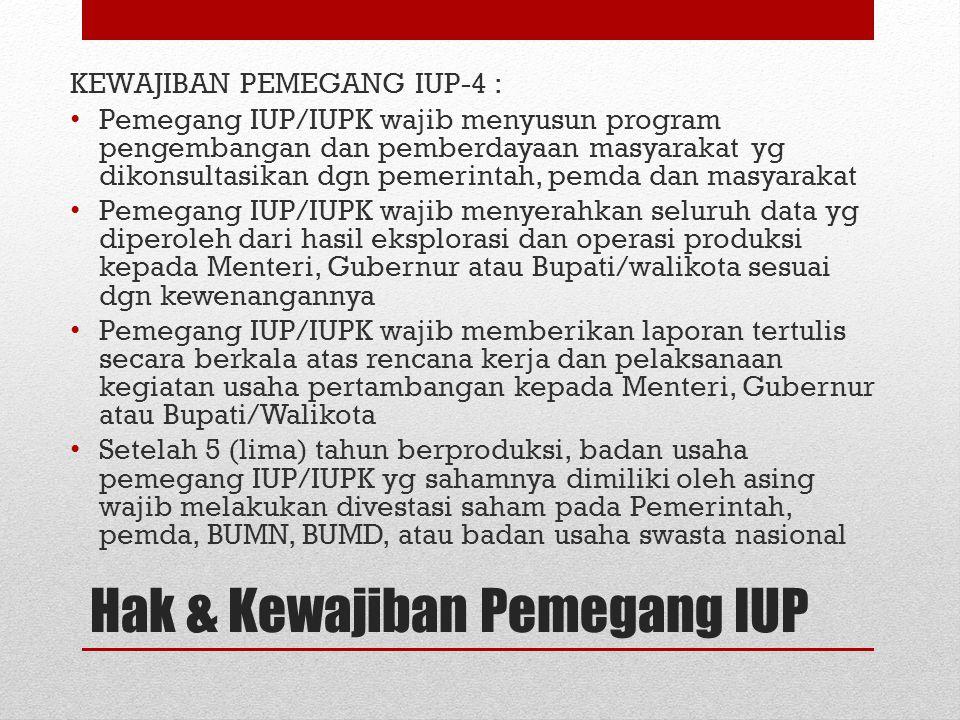 KEWAJIBAN PEMEGANG IUP-4 : Pemegang IUP/IUPK wajib menyusun program pengembangan dan pemberdayaan masyarakat yg dikonsultasikan dgn pemerintah, pemda