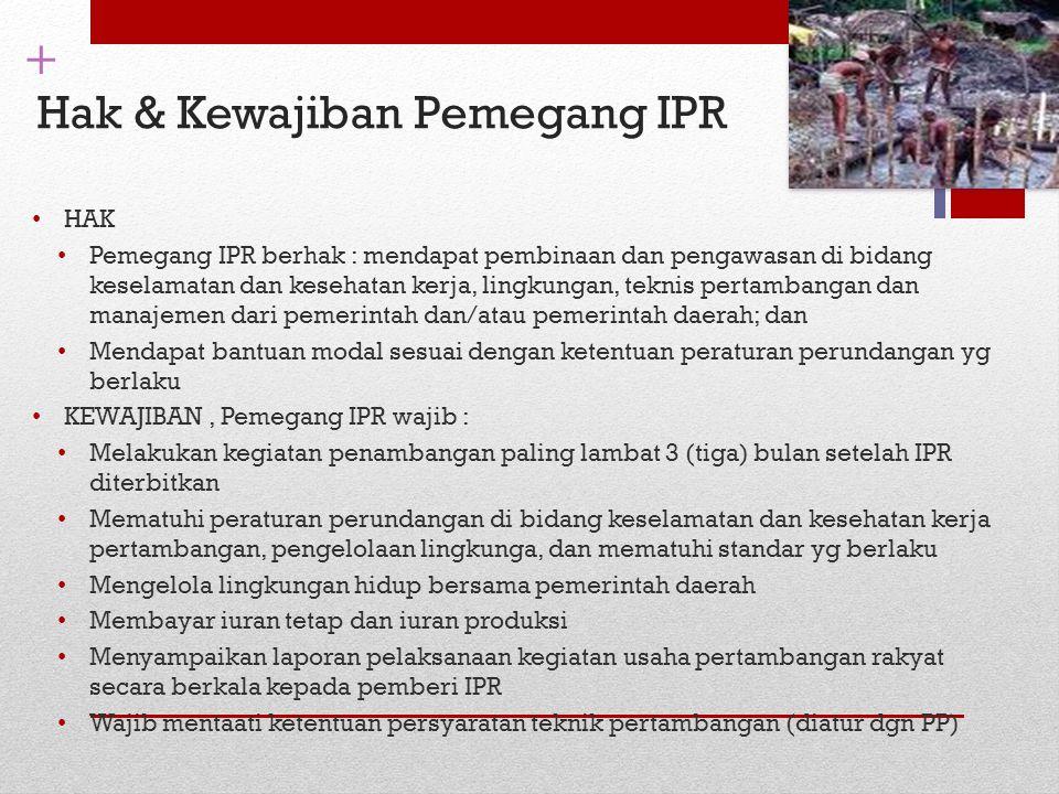 + Hak & Kewajiban Pemegang IPR HAK Pemegang IPR berhak : mendapat pembinaan dan pengawasan di bidang keselamatan dan kesehatan kerja, lingkungan, tekn