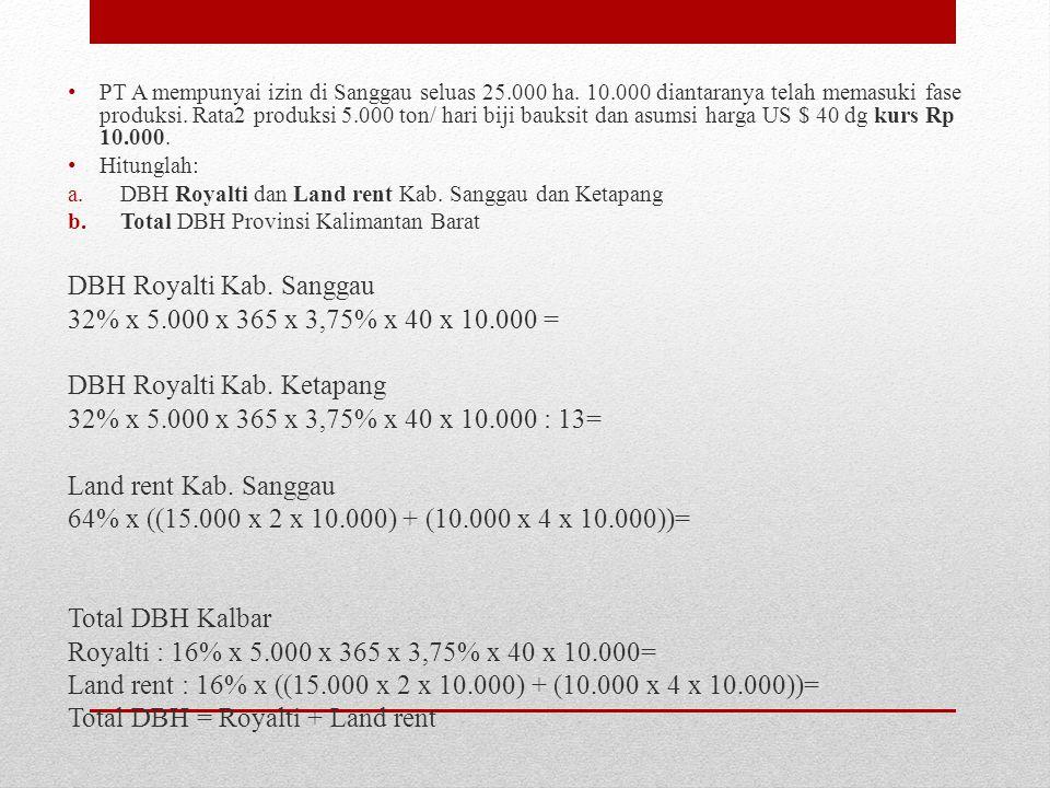 PT A mempunyai izin di Sanggau seluas 25.000 ha. 10.000 diantaranya telah memasuki fase produksi. Rata2 produksi 5.000 ton/ hari biji bauksit dan asum