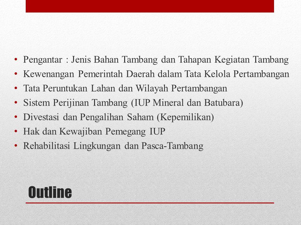 KEWAJIBAN PEMEGANG IUP : Pemegang IUP/IUPK wajib (ps.95) : menerapkan kaidah teknik pertambangan yg baik, mengelola keuangan sesuai dgn sistem akuntansi Indonesia, meningkatkan nilai tambah sumber daya mineral dan/atau batubara, melaksanakan pengembangan dan pemberdayaan masy setempat,mematuhi batas toleransi daya dukung lingkungan Dlm menerapkan kaidah teknik pertambangan yg baik wajib (ps.96) melaksanakan : ketentuan keselamatan dan kesehatan kerja pertambangan, keselamatan operasi pertambangan, pengelolaan dan pemantauan lingkungan pertambangan, termasuk kegiatan reklamasi dan pascatambang, upaya konservasi suber daya mineral dan batubara, pengelolaan sisa tambang dari suatu kegiatan usaha pertambangan dlm bentuk padat,cair,atau gas sampai memenuhi standar baku mutu lingkungan sebelum dilepas ke media lingkungan Pemegang IUP/IUPK wajib menjamin penerapan standar dan baku mutu lingkungan sesuai dengan karakteristik suatu daerah Hak & Kewajiban Pemegang IUP