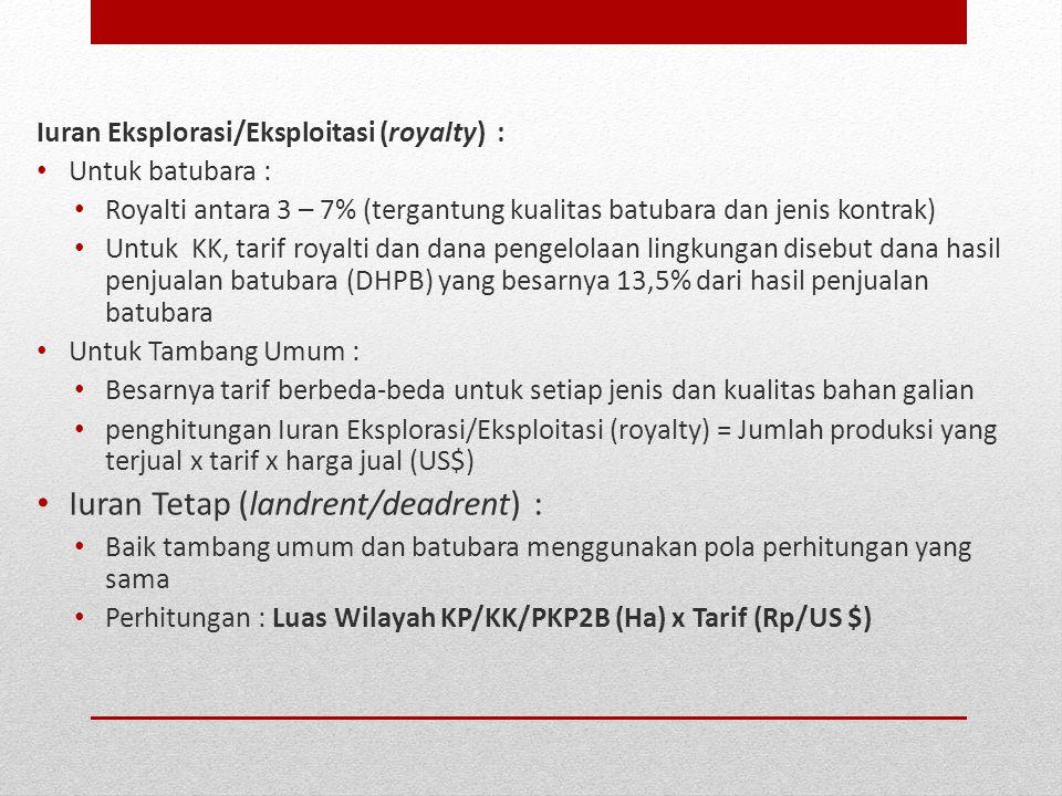 Iuran Eksplorasi/Eksploitasi (royalty) : Untuk batubara : Royalti antara 3 – 7% (tergantung kualitas batubara dan jenis kontrak) Untuk KK, tarif royal