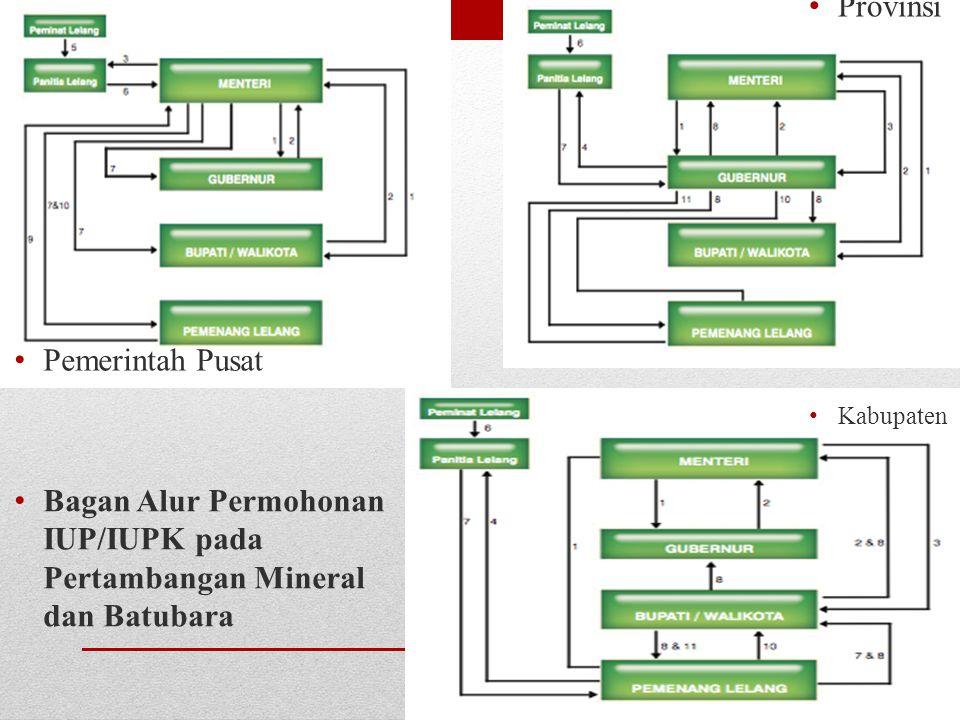 Pemerintah Pusat Bagan Alur Permohonan IUP/IUPK pada Pertambangan Mineral dan Batubara Provinsi Kabupaten