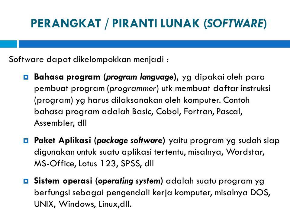 PERANGKAT / PIRANTI LUNAK (SOFTWARE) Software dapat dikelompokkan menjadi :  Bahasa program (program language), yg dipakai oleh para pembuat program