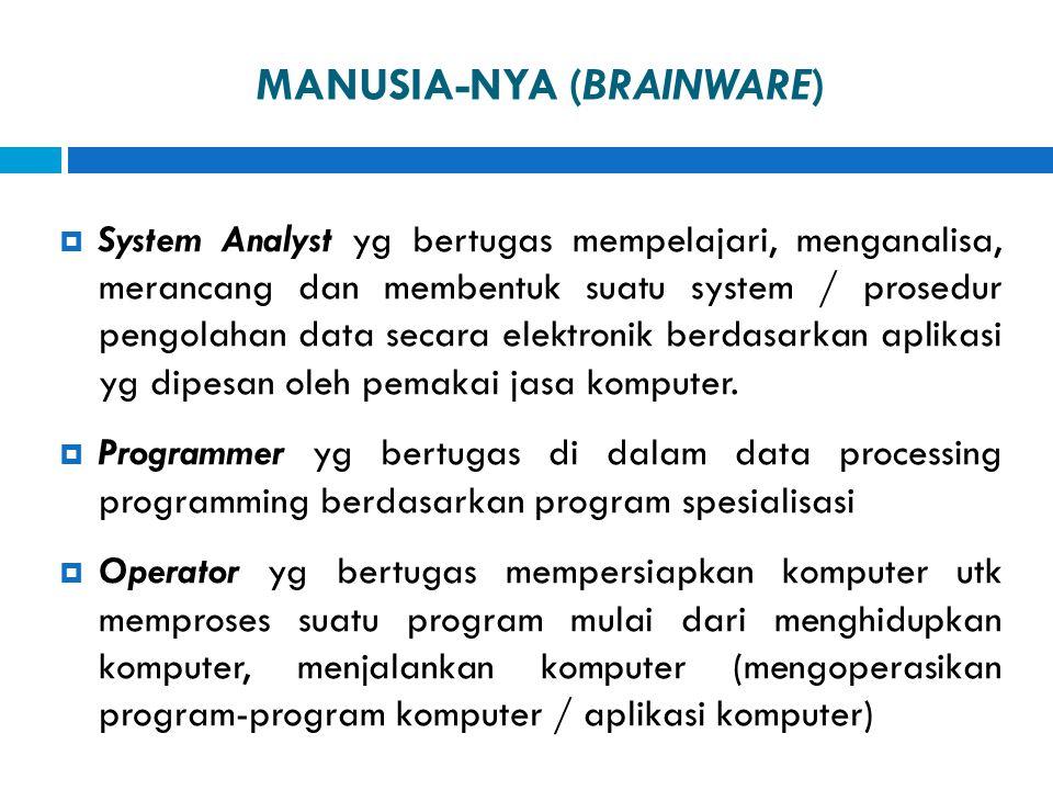 MANUSIA-NYA (BRAINWARE)  System Analyst yg bertugas mempelajari, menganalisa, merancang dan membentuk suatu system / prosedur pengolahan data secara