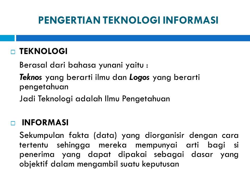 PENGERTIAN TEKNOLOGI INFORMASI  TEKNOLOGI Berasal dari bahasa yunani yaitu : Teknos yang berarti ilmu dan Logos yang berarti pengetahuan Jadi Teknolo