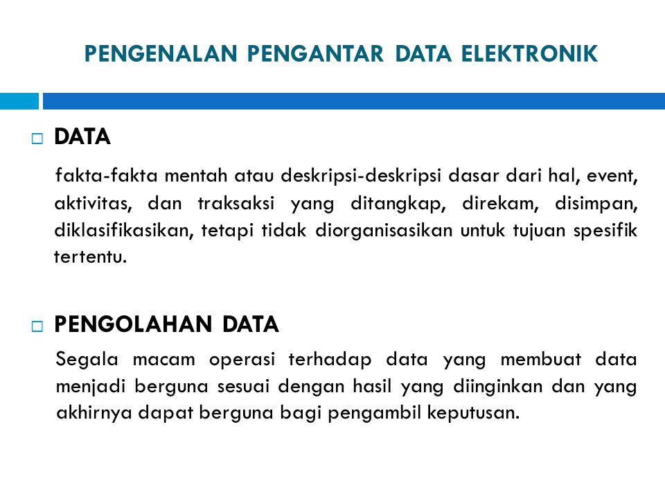 PENGENALAN PENGANTAR DATA ELEKTRONIK  DATA fakta-fakta mentah atau deskripsi-deskripsi dasar dari hal, event, aktivitas, dan traksaksi yang ditangkap