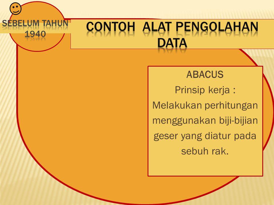 ABACUS Prinsip kerja : Melakukan perhitungan menggunakan biji-bijian geser yang diatur pada sebuh rak.