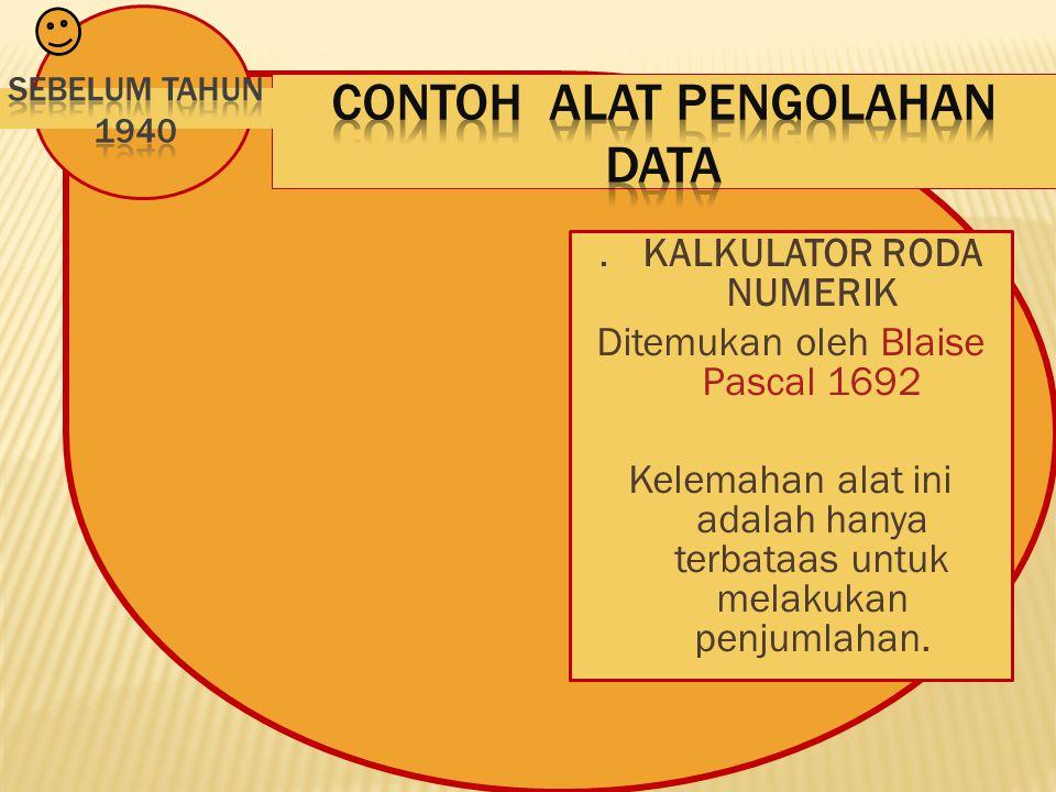 . KALKULATOR RODA NUMERIK Ditemukan oleh Blaise Pascal 1692 Kelemahan alat ini adalah hanya terbataas untuk melakukan penjumlahan.
