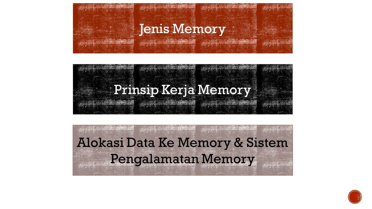 Jenis Memory Prinsip Kerja Memory Alokasi Data Ke Memory & Sistem Pengalamatan Memory