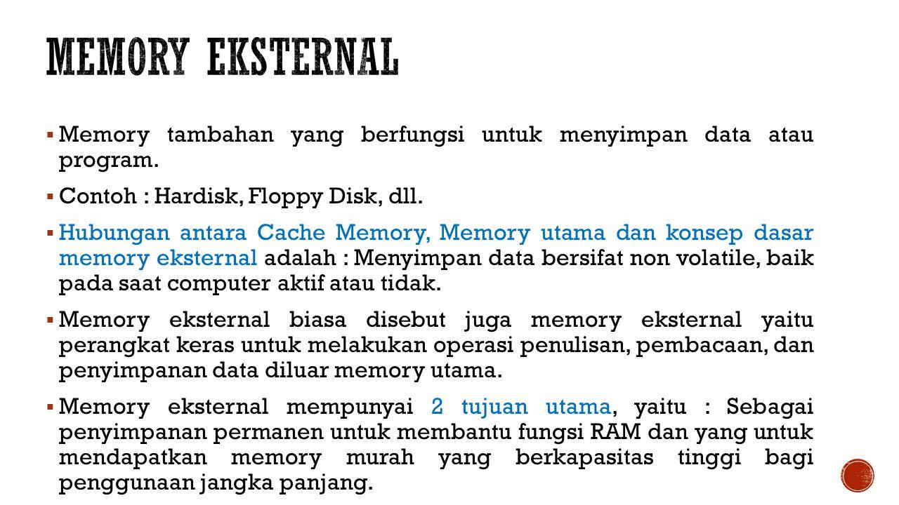  Memory tambahan yang berfungsi untuk menyimpan data atau program.