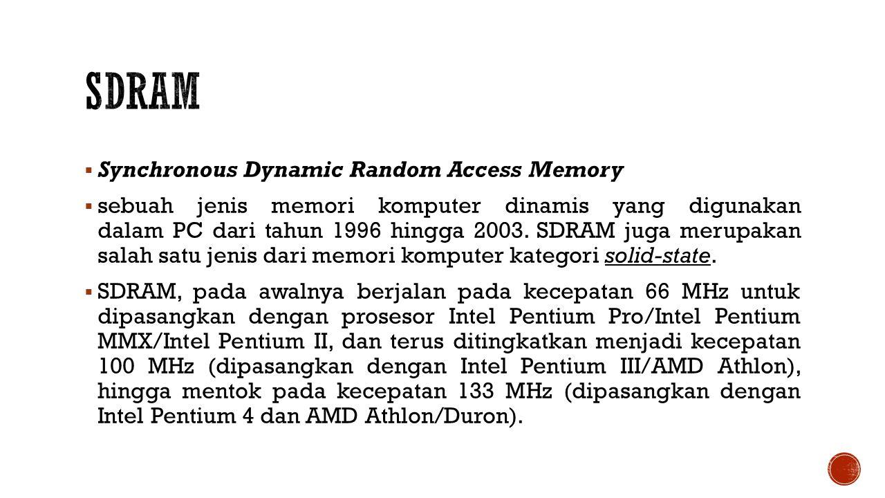  Synchronous Dynamic Random Access Memory  sebuah jenis memori komputer dinamis yang digunakan dalam PC dari tahun 1996 hingga 2003.