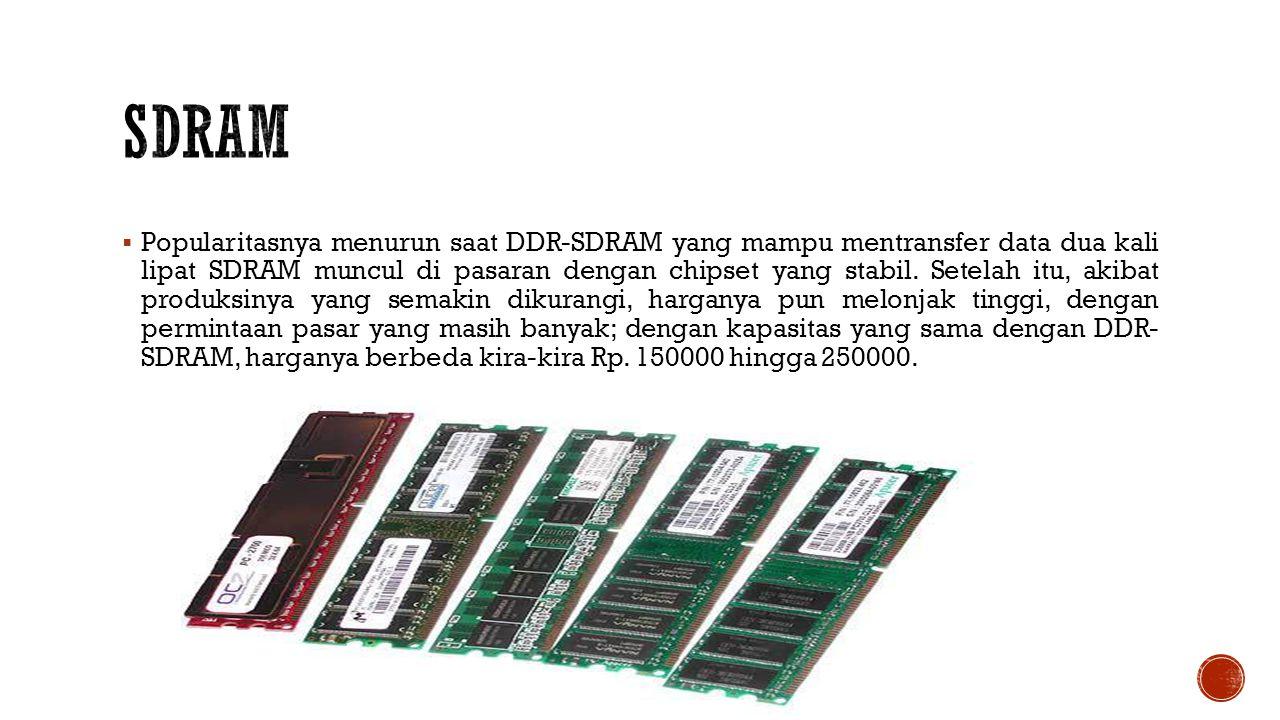  Popularitasnya menurun saat DDR-SDRAM yang mampu mentransfer data dua kali lipat SDRAM muncul di pasaran dengan chipset yang stabil.