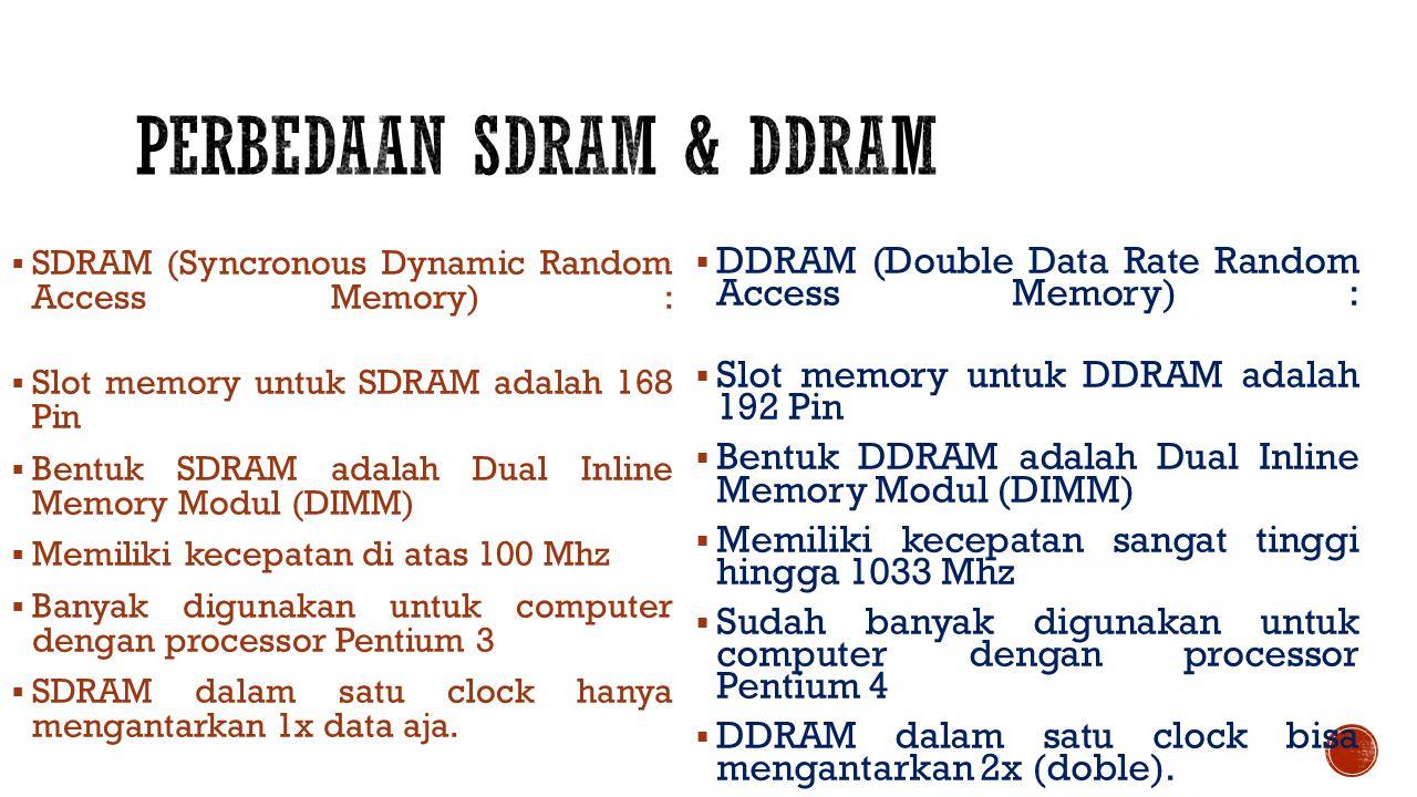  SDRAM (Syncronous Dynamic Random Access Memory) :  Slot memory untuk SDRAM adalah 168 Pin  Bentuk SDRAM adalah Dual Inline Memory Modul (DIMM)  Memiliki kecepatan di atas 100 Mhz  Banyak digunakan untuk computer dengan processor Pentium 3  SDRAM dalam satu clock hanya mengantarkan 1x data aja.