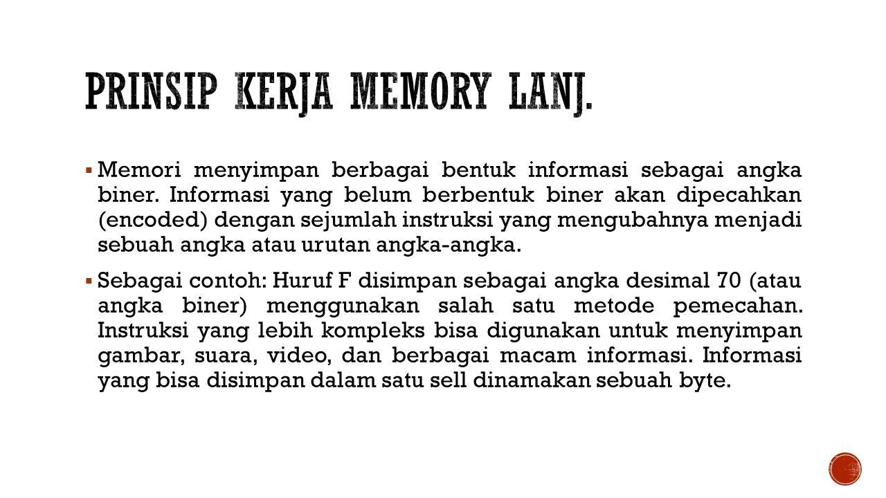  Memori menyimpan berbagai bentuk informasi sebagai angka biner.