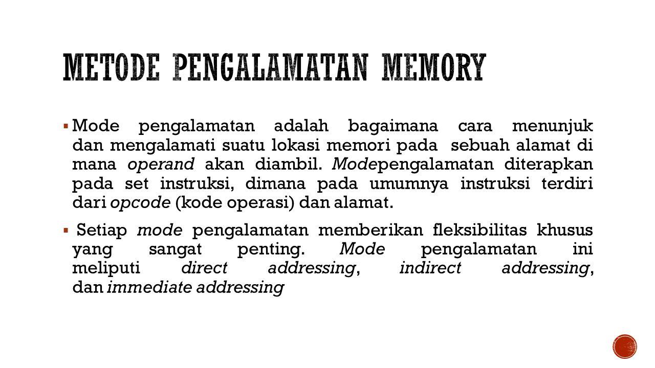  Mode pengalamatan adalah bagaimana cara menunjuk dan mengalamati suatu lokasi memori pada sebuah alamat di mana operand akan diambil.