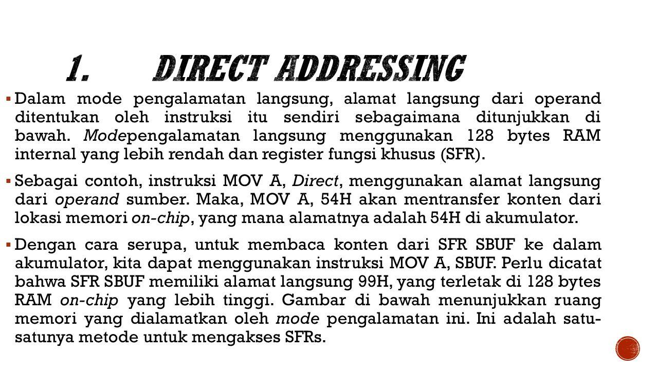  Dalam mode pengalamatan langsung, alamat langsung dari operand ditentukan oleh instruksi itu sendiri sebagaimana ditunjukkan di bawah.