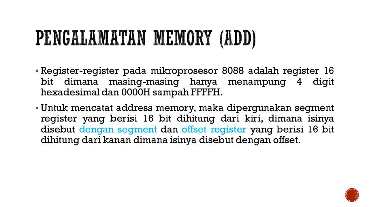  Register-register pada mikroprosesor 8088 adalah register 16 bit dimana masing-masing hanya menampung 4 digit hexadesimal dan 0000H sampah FFFFH.