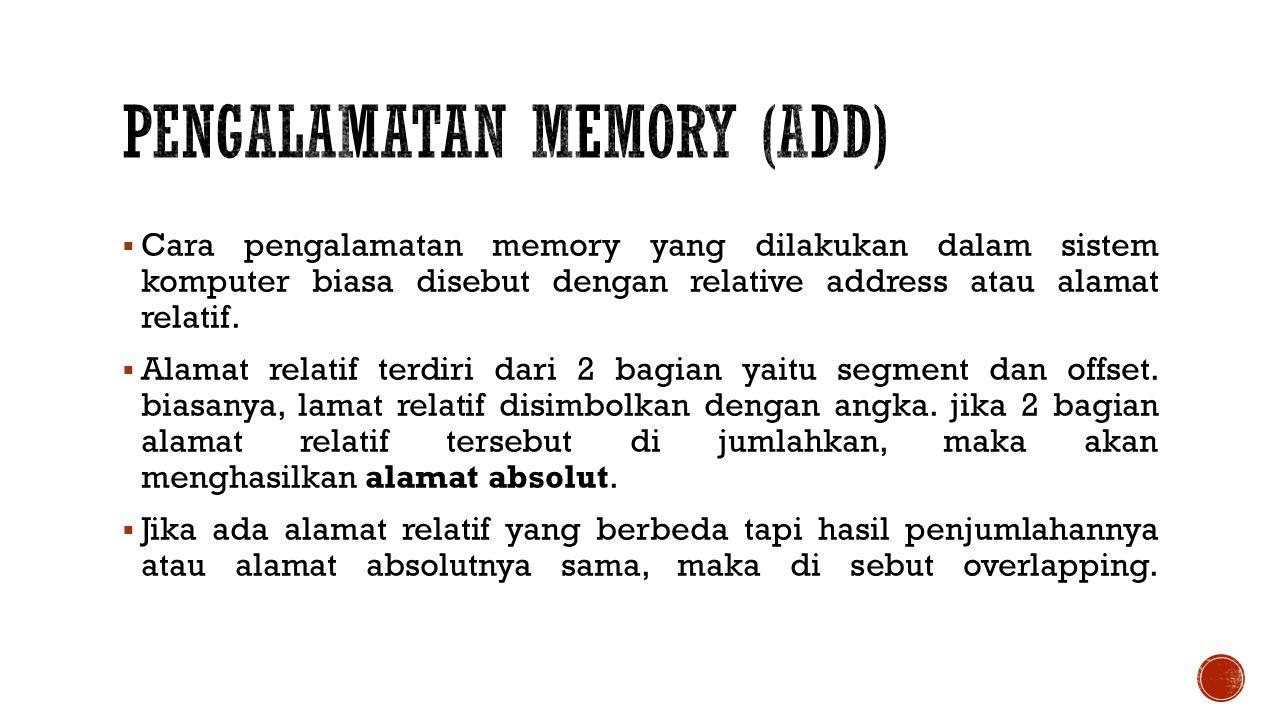  Cara pengalamatan memory yang dilakukan dalam sistem komputer biasa disebut dengan relative address atau alamat relatif.