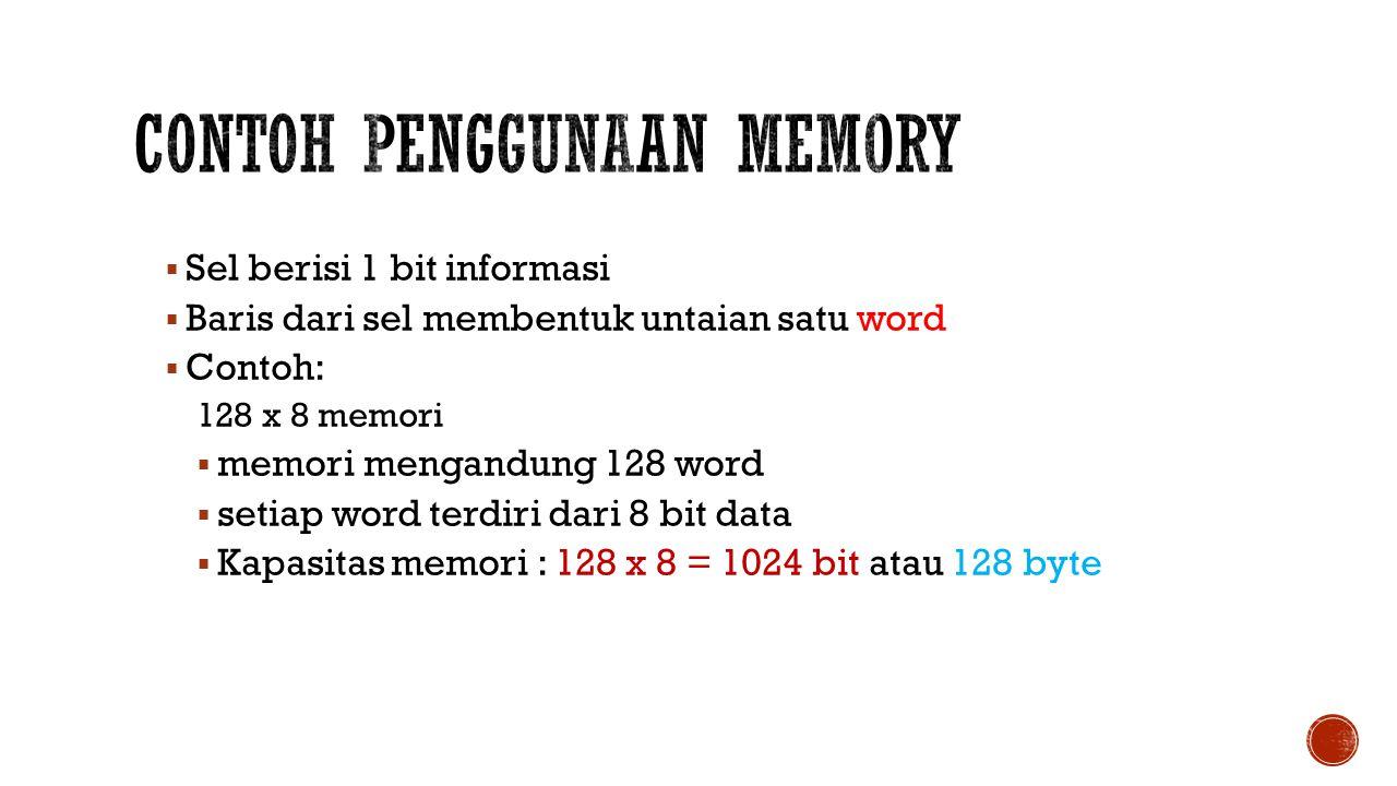  Sel berisi 1 bit informasi  Baris dari sel membentuk untaian satu word  Contoh: 128 x 8 memori  memori mengandung 128 word  setiap word terdiri dari 8 bit data  Kapasitas memori : 128 x 8 = 1024 bit atau 128 byte