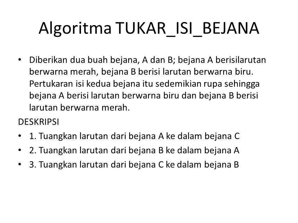 Algoritma TUKAR_ISI_BEJANA Diberikan dua buah bejana, A dan B; bejana A berisilarutan berwarna merah, bejana B berisi larutan berwarna biru.